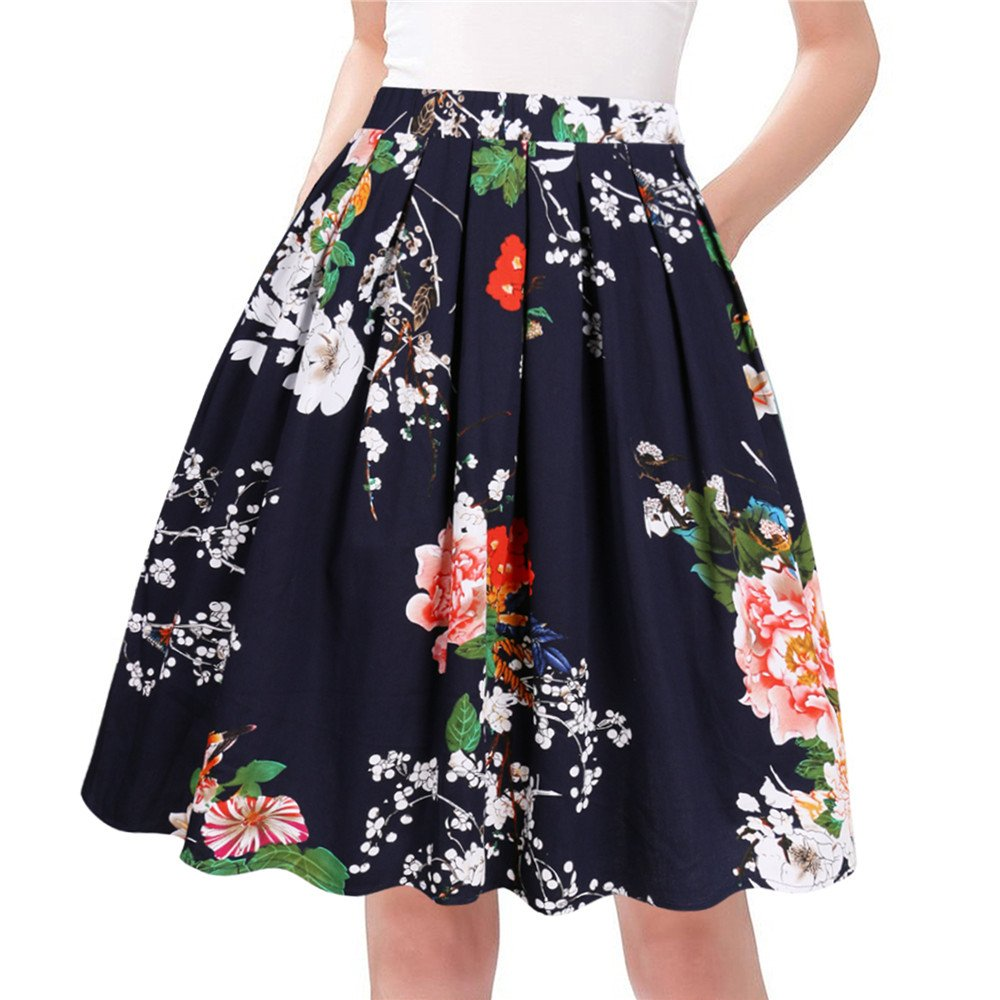 Taydey A-Line Pleated Vintage Skirts for Women (L, Navy Flower)