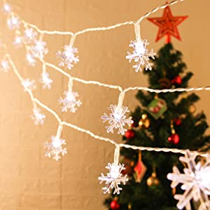 ANJAYLIA Christmas Lights Snowflake String Lights 20ft 40 LED Fairy Lights Battery Operated 2 Modes Cool White Twinkle Lighting Indoor Outdoor Hanging Snowflakes Decor for Bedroom Home Party Xmas Tree
