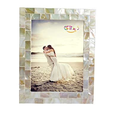 GIFTME 5 Mother of Pearl 6x8 Picture Frame,White Mosaic 6 by 8 Wall Picture Frame,Tabletop Photo Frame(6x8 Natural White)