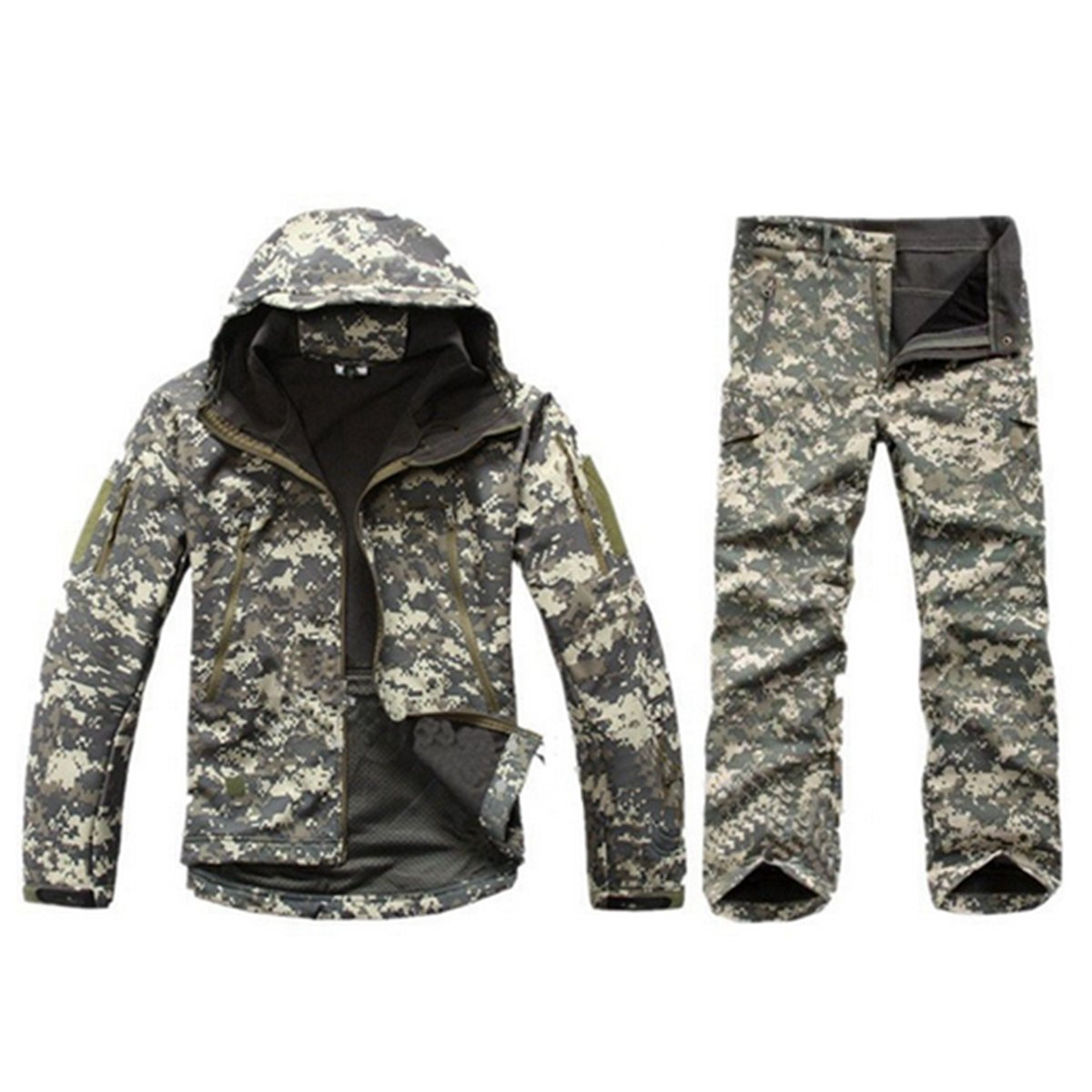 YoYo_Boy Winter Autumn Waterproof Softshell Jacket Men Tactical Camouflage Jacket Coat Camo Military Clothes ACU S