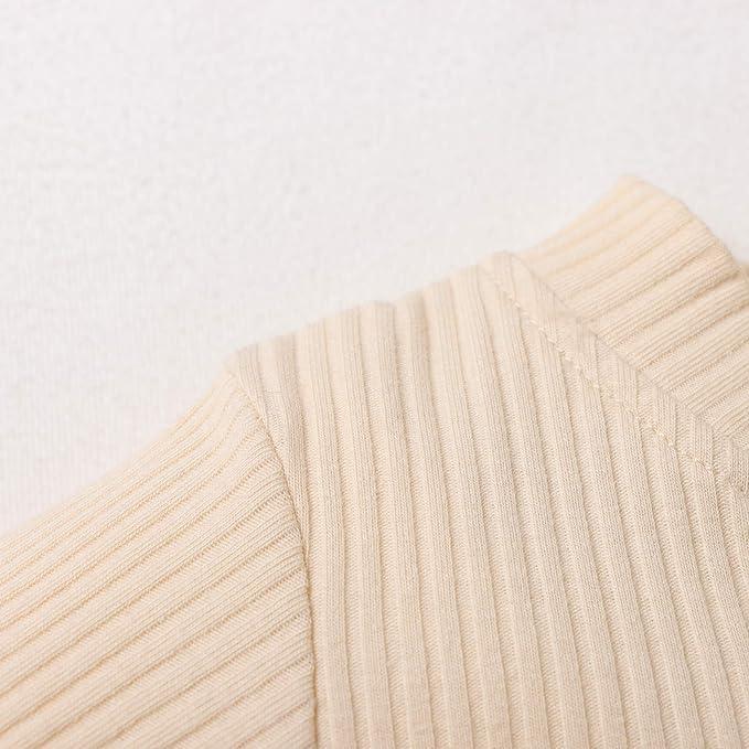 Hanomes Neugeborene Onesies Unisex 2 St/ück Baby Kleidung Junge M/ädchen Solid Button Bodysuit Strampler Langarm Tops Kordelzug Hosen Strick Outfit (60-100)