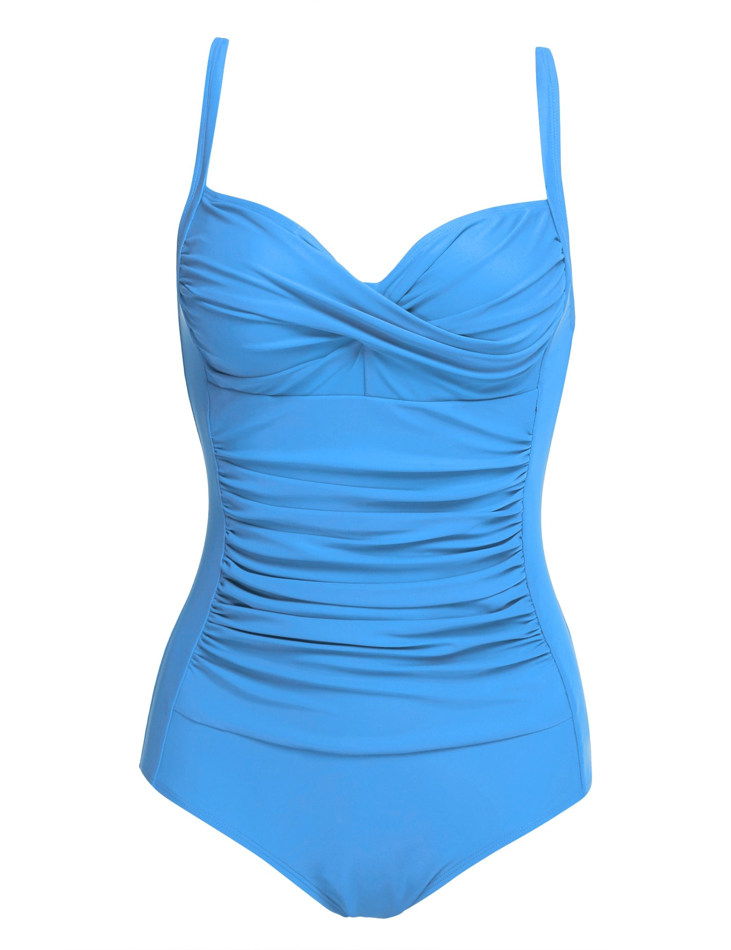 Ekouaer 50s Retro Vintage Style One Piece Vintage Monokini Swimsuit, Sky Blue, XL