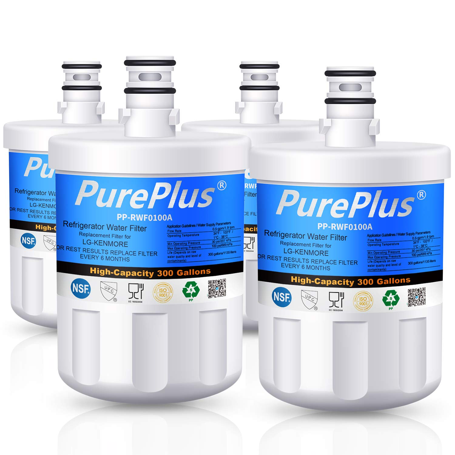 PurePlus LT500P Refrigerator Water Filter, Compatible with LG LT500P, 5231JA2002A, 5231JA2002B, ADQ72910901,GEN11042FR-08,LFX25974ST,Kenmore 9890, 46-9890, 469890 (Pack of 4)