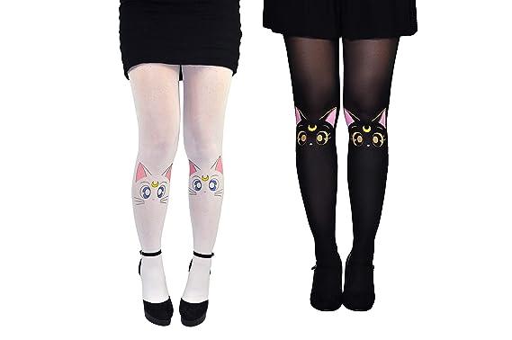 d6e081026 Amazon.com  Sailor Moon Socks Tights Women (2 Pair) - Artemis   Luna ...
