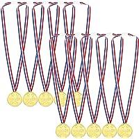 Medallas de plástico dorado para niños, para premios, premios, premios, 10 unidades