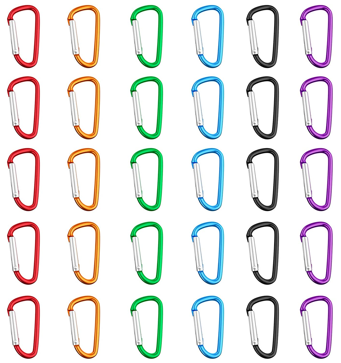 Amandir 30 Pcs 2''/5cm Aluminum D Ring Carabiner Clip D Shape Spring Loaded Gate Small Climbing Carabiner Keychain Set for Camping, Backpack, Fishing, Hiking, Traveling