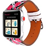 Dxunbands Leather Band for apple watch 42mm Floral Printed Leather Watch Band 38mm 42mm Strap for Apple Watch Series 3 Series 2 Series 1 Sport and Edition
