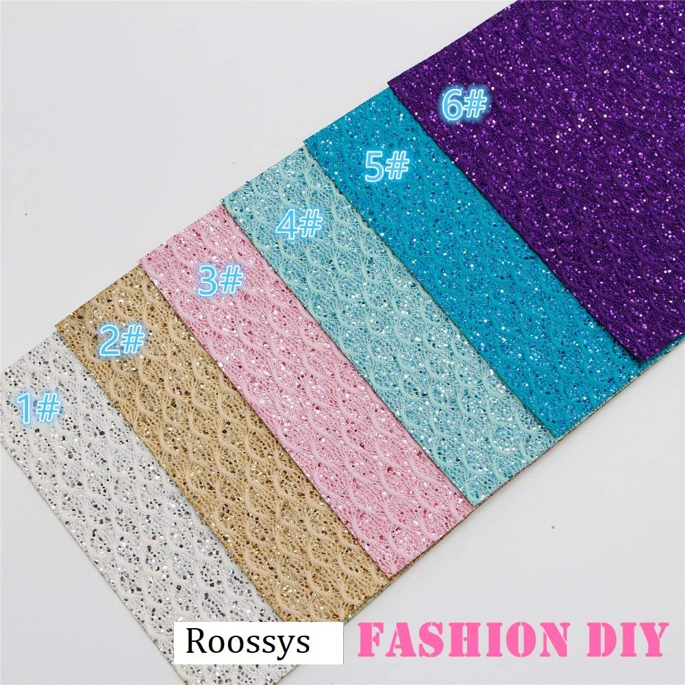 6Pcs 20x22cm LACE Glitter Color Mix PU Leather Fabric Sheet-Faux Leather for Crafts-Synthetic Leather for Crafting-Glitter Synthetic Leather Fabric-Synthetic Leather Fabric Sheets-DIY Fabric Handmade Roossys