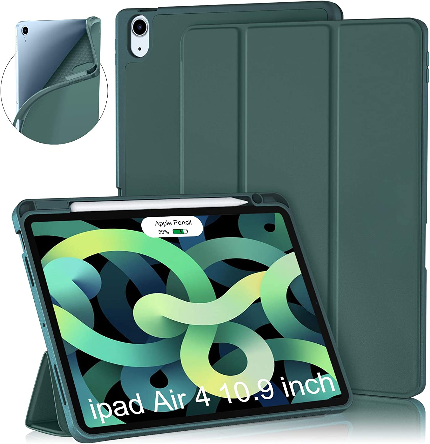 Cousper Case for iPad Air 4th Generation Case 10.9 Inch 2020, Slim Stand Case for iPad Air 4th Case Cover with Pencil Holder [Support 2nd Apple Pencil Wireless Charging] [Auto Sleep/Wake], Deep Green