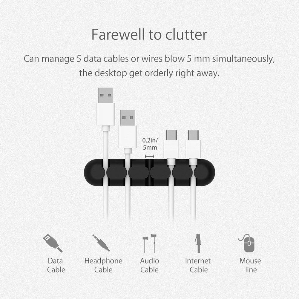 2 St/ück Kabel-Organizer und Kabelmanagement f/ür unordentlichen Draht und Ladezubeh/ör Kabel schwarz CYSKY 5-Kanal-Kabel ordentlich Clips Drahtseilhalter