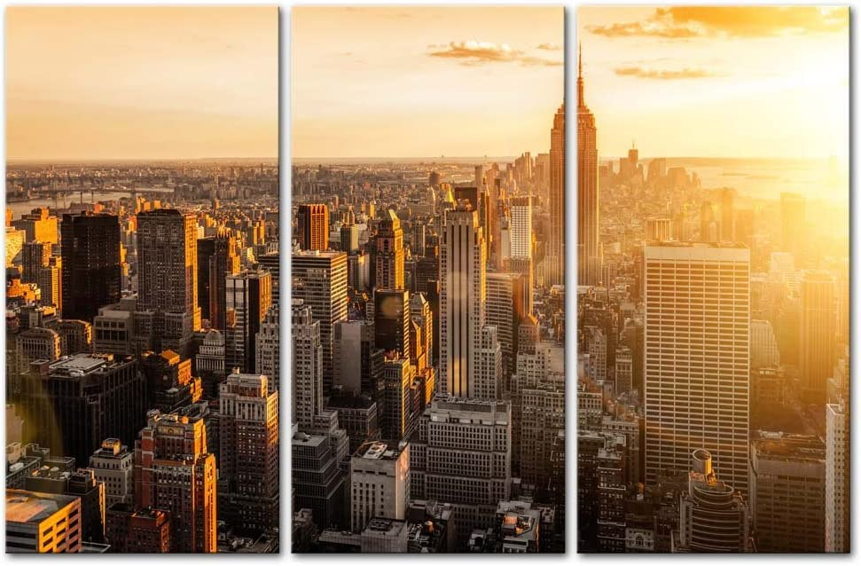 My Easy Art- New York City Wall Art Decor Skyline of United States NYC Canvas Pictures Artwork Skyscrapers Buildings Cityscape at Sunset 3 Panel Painting Prints for Home Living Dining Room