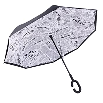Doble Capa de Paraguas Invertido, Protección Contra el Viento y Protección UV Paraguas Recto con