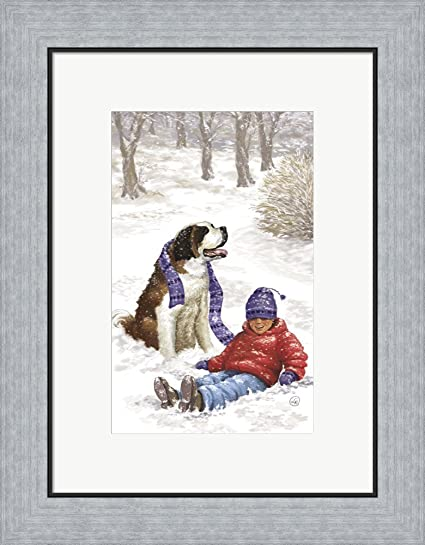 Amazon.com: Child and Pet Winter Fun by DBK-Art Licensing Framed Art ...