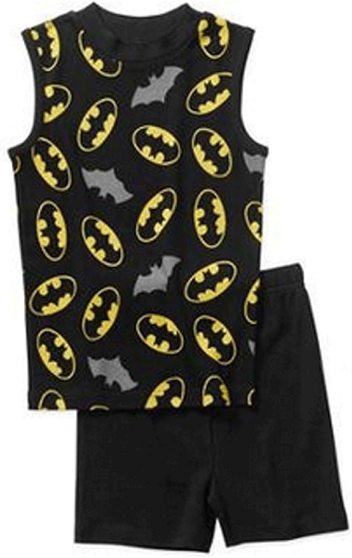 Marvel Boys Batman Pajamas 2 Piece Cotton Sleepwear Set Black