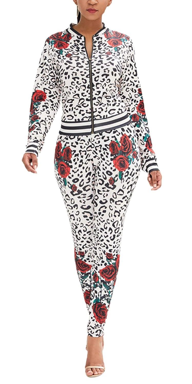 Mujer Chandal Primavera Otoño Leopardo Impresión Ropa Casual ...