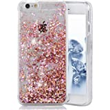 iPhone SE Case, SUPVIN Liquid Case for iPhone SE, iPhone 5S/5, Fashion Creative Design Flowing Liquid Floating Luxury Bling Glitter Sparkle Diamond Hard Case for iPhone SE, iPhone 5S (Pink)