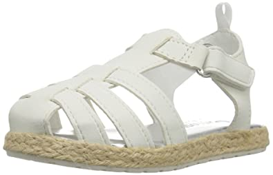 OshKosh B'Gosh Ashby Girl's Espadrille Sandal, White, 7 M US Toddler