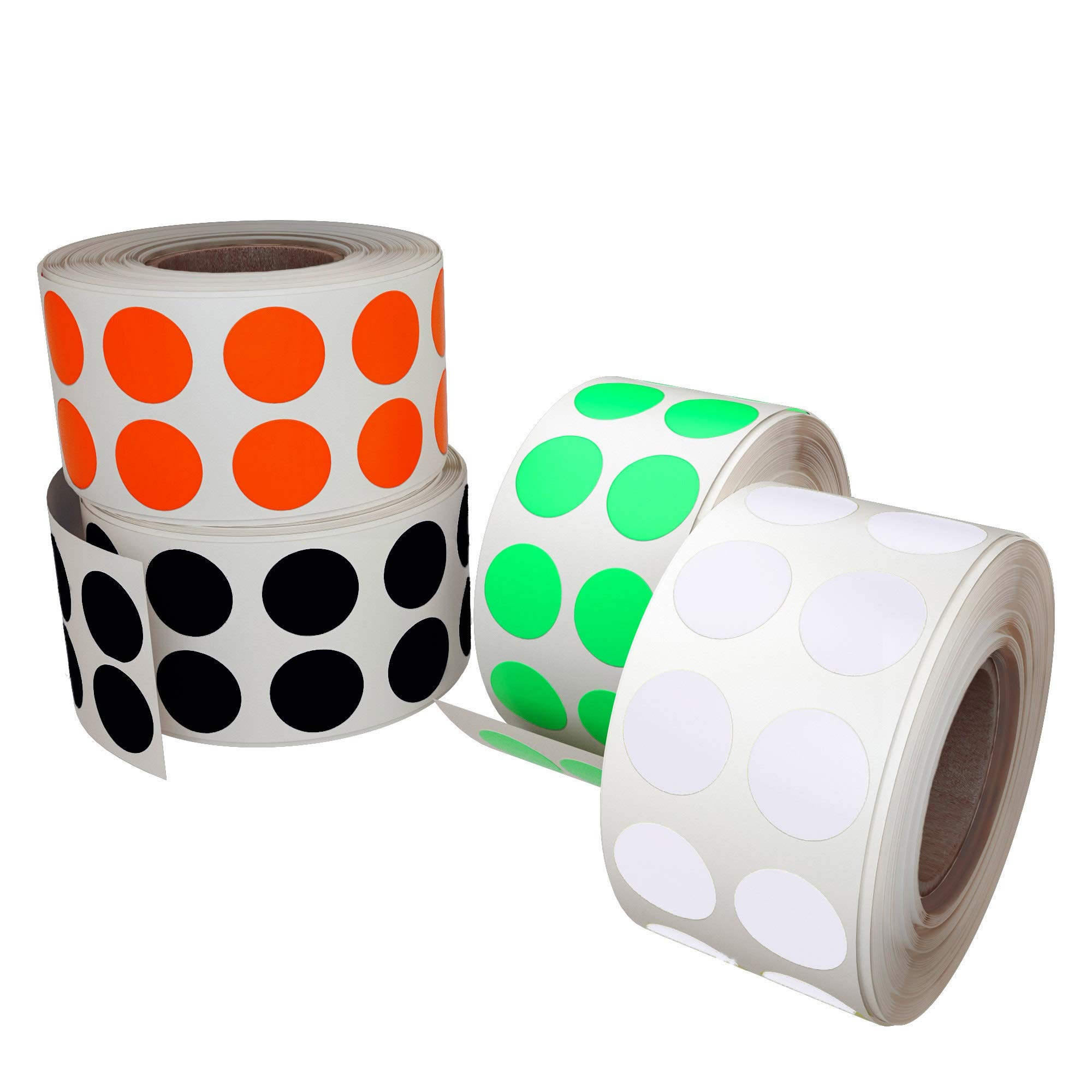 Color Coding Labels Neon Red, Black, White and Neon Green - 4 Colors - Round dot Stickers - 4320 Pack by Royal Green