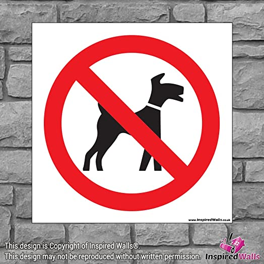 1x dogs prohibited health safety warning prohibition sign sticker