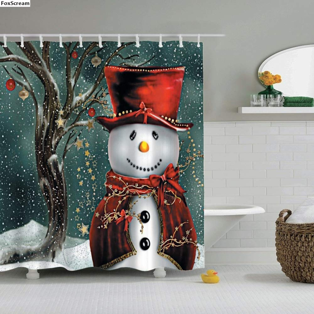 Crab Shine - Merry Christmas Happy New Year Santa Claus Christmas Tree Printed Shower Curtain Bathroom Curtain with Hooks Gift Christmas
