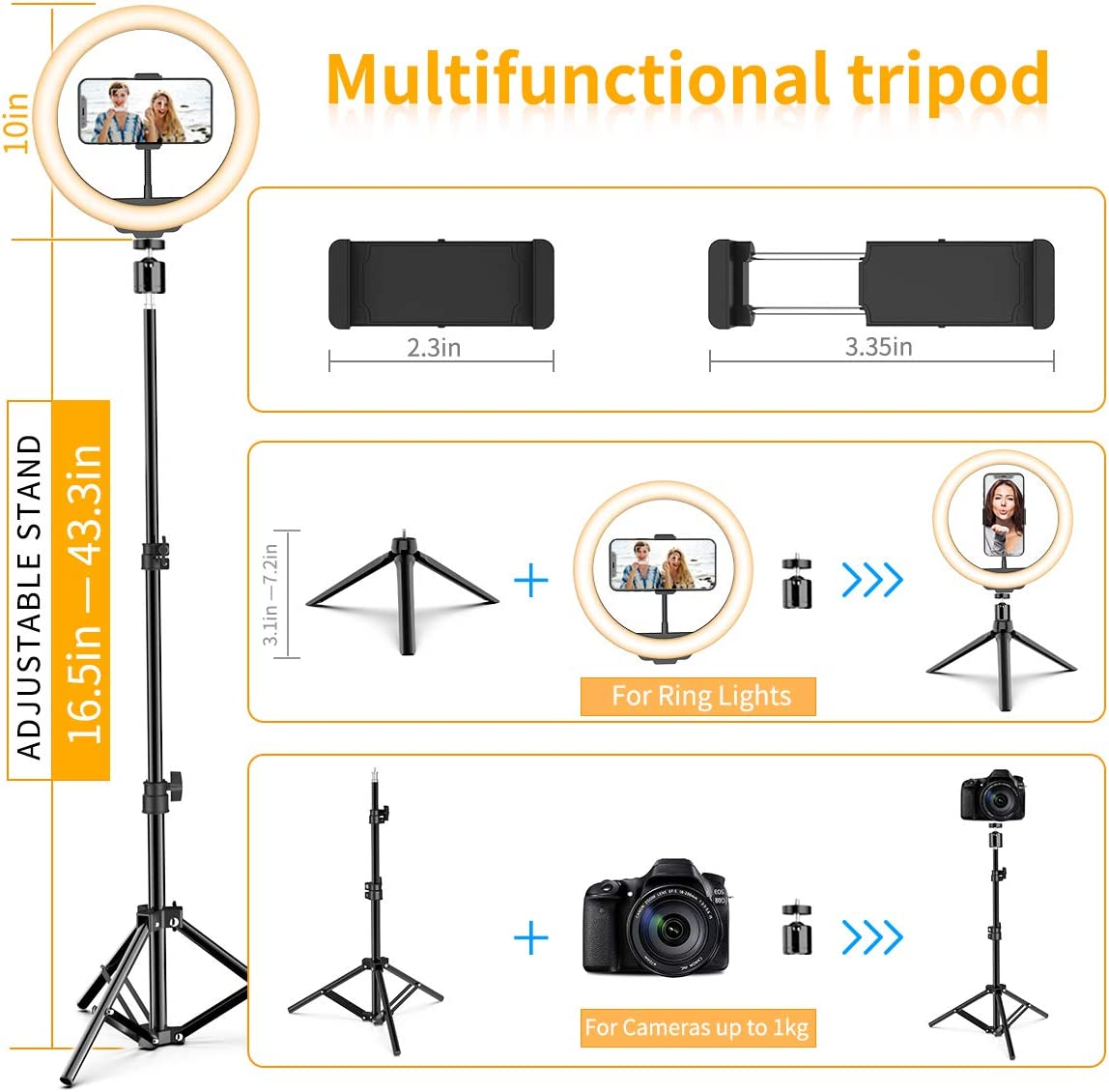 10 Selfie Ring Light with Tripod Stand /& Cell Phone Holder Upgraded Dimmable Camera Ring Light for TikTok//YouTube//Live Stream//Makeup//Photography Compatible with iPhone Android Samsung