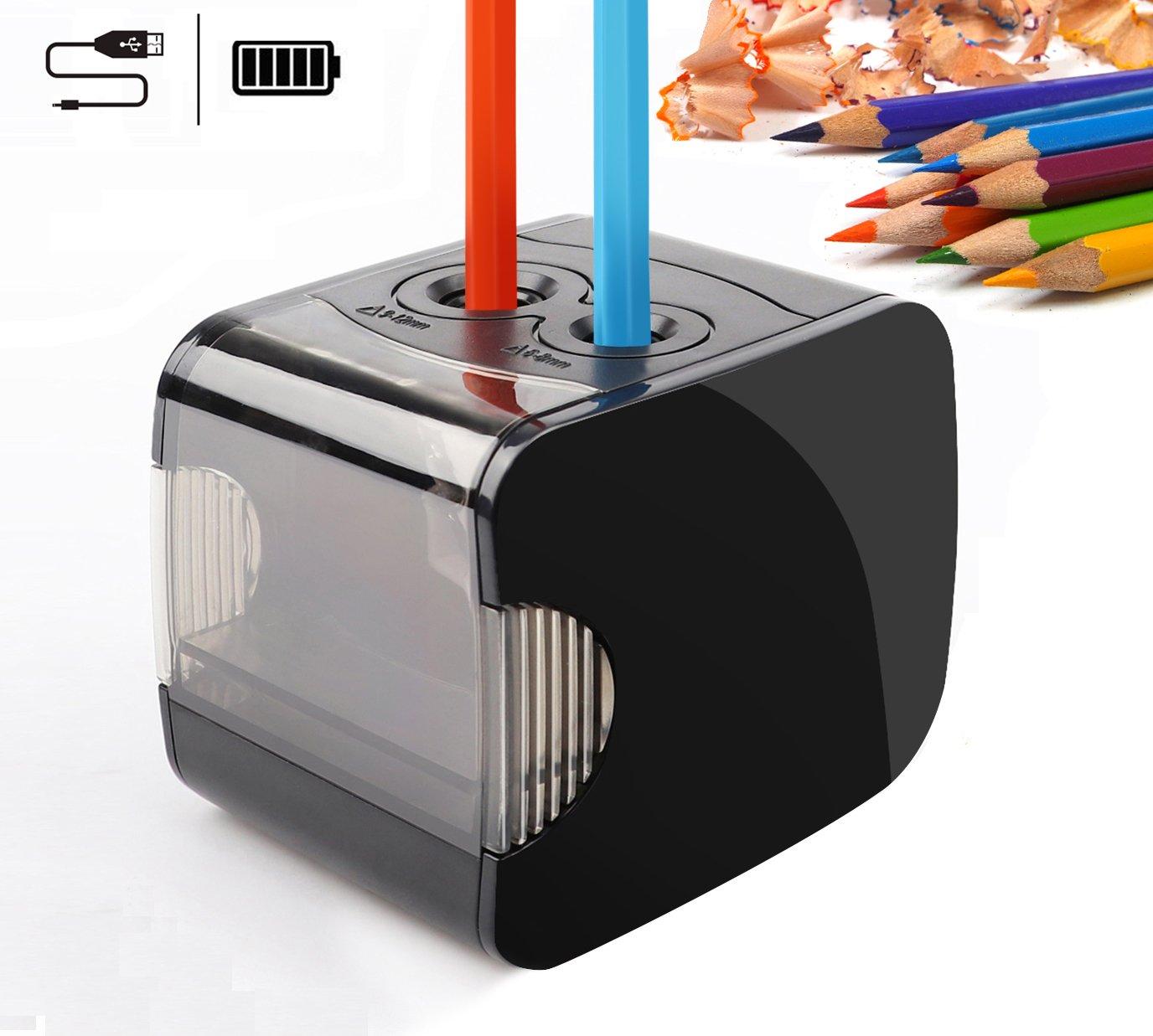 Temperamatite elettrico con funzione di auto, Qhui batteria e USB alimentato a 2 fori Heavy Dudy temperamatite, perfetto per No. 2 e matite colorate da usare a casa e ufficio (nero) (Temperamatite elettrico-01)