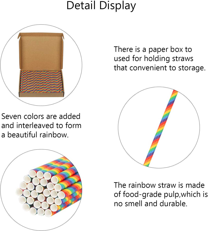 PATAZOK 200 Pezzi Cannucce di Carta USA e Getta,Cannucce di Carta Degradabili Colori del Rainbow Conveniente per Bevande Fredde Case Arcobaleno Festa a Tema Unicorno