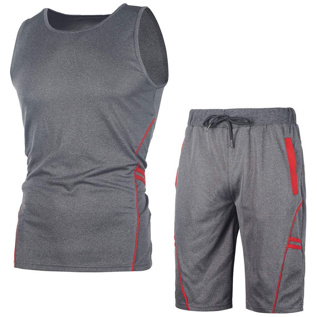 Palarn Mens Fashion Sports Shirts Mens Casual Slim Sleeveless Tank Top T-Shirt Shorts Pants Suit Top Blouse
