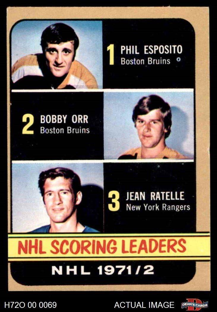 1972 O-Pee-Chee # 280 Scoring Leaders Phil Esposito/Bobby Orr/Jean Ratelle Bruins/Bruins/Rangers-Hockey (Hockey Card) Dean's Cards 5 - EX Bruins/Bruins/Rangers-Hockey 71gXxSzvitL