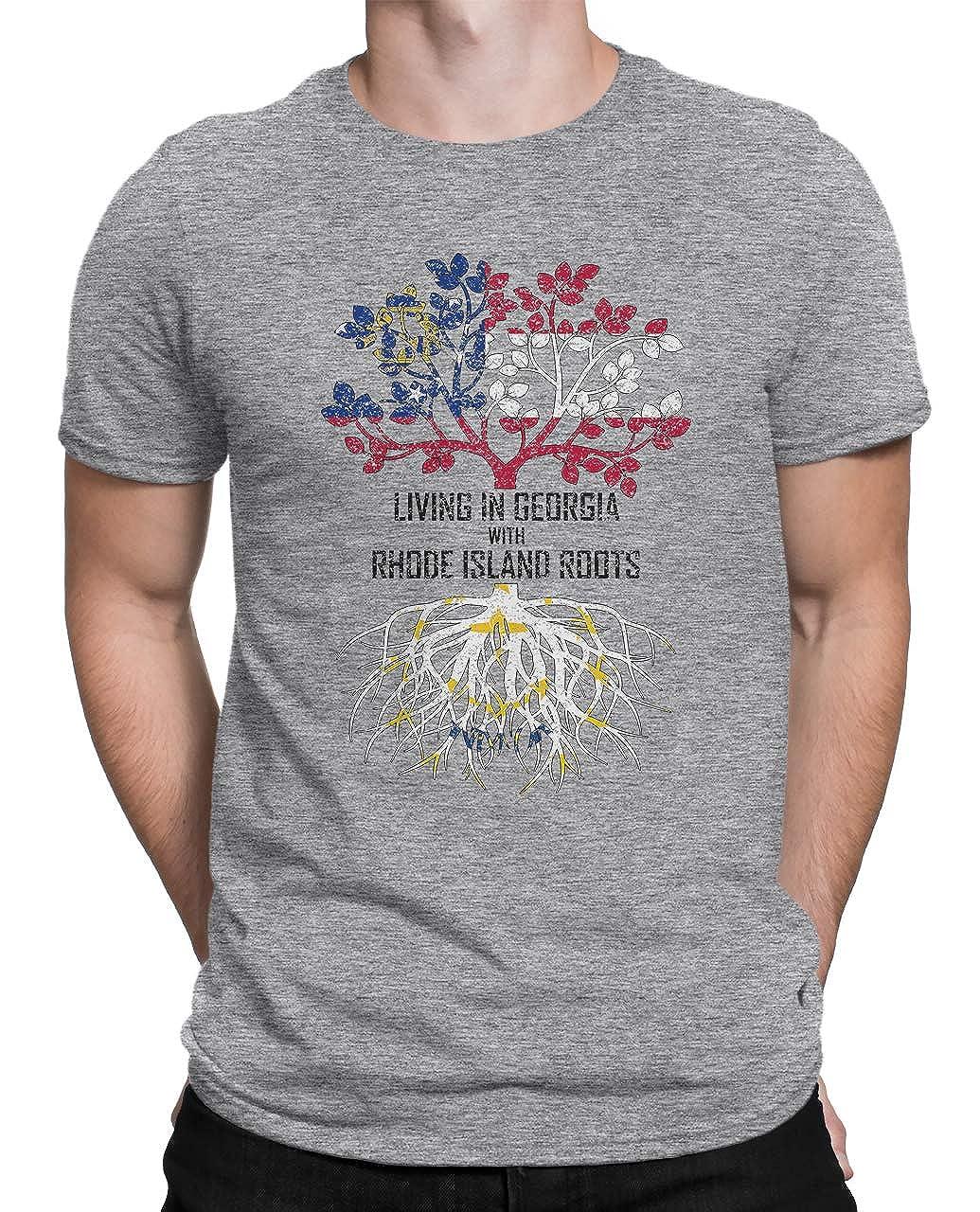 Tenacitee Mens Living in Georgia Rhode Island Roots T-Shirt