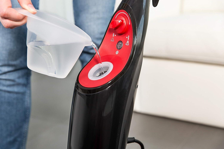 mopa el/éctrica ligera con cable de 6 m Vileda Steam apta para suelos duros y moquetas Mopa a vapor con cabezal triangular color rojo y negro