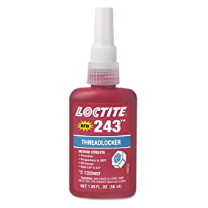 "Loctite 1329467 243 Blue Medium Strength Threadlockers, 1.69 oz., 50 mL, 3/4"" Thread"