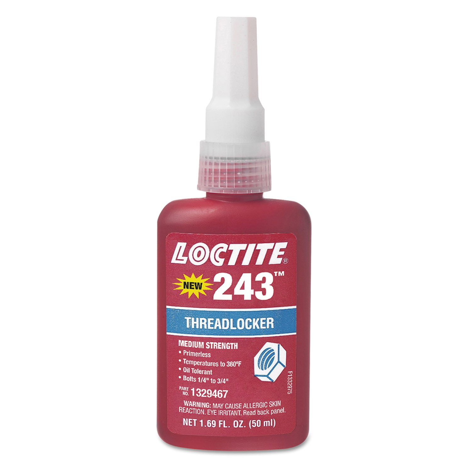 Loctite 1329467 243 Blue Medium Strength Threadlockers, 1.69 oz., 50 mL, 3/4'' Thread