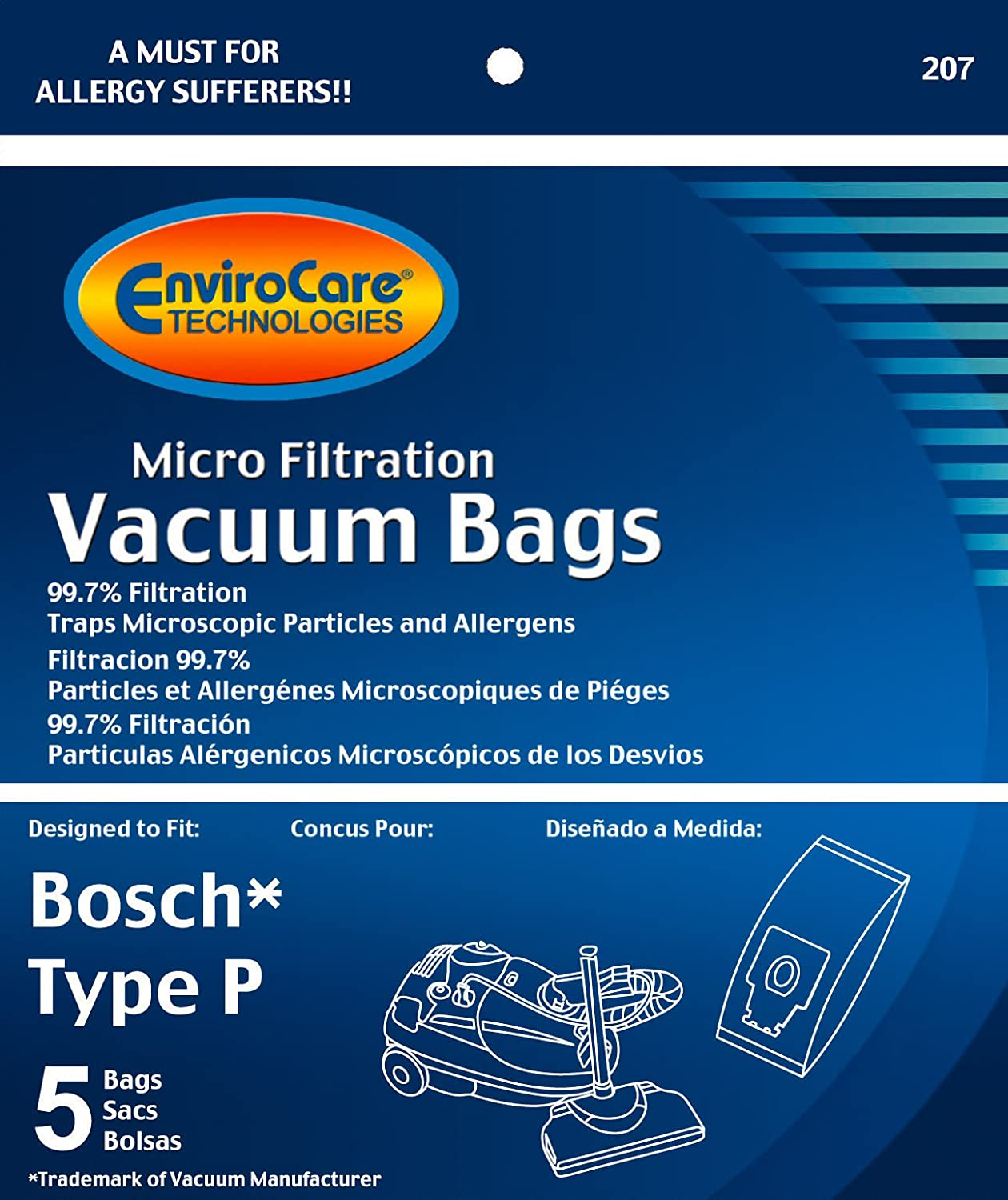 EnviroCare Replacement Micro Filtration Vacuum Bags for Bosch Type P Canisters 5 pack