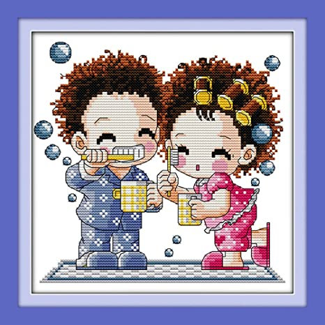 DIY Needlework Wedding Christmas Gifts YEESAM ART New Cross Stitch Kits Advanced Patterns for Beginners Kids Adults Sleeping Girl 11 CT Stamped 33/×29 cm