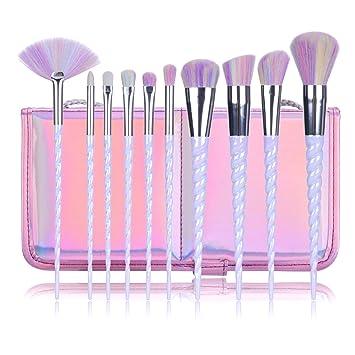 Amazon.com: Juego de 10 pinceles de maquillaje de unicornio ...