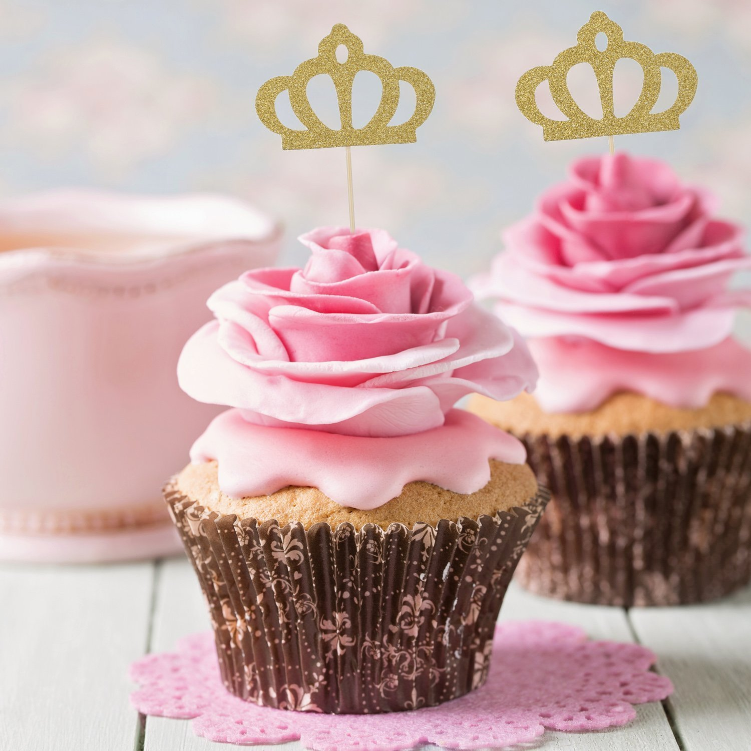 TOODOO 50 Pack Gold Glitter Crown Cupcake Toppers Glitter Party Cake ...