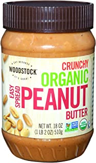 product image for Woodstock Farms Organic Peanut Butter, Easy Spread, Crunchy, Salted, 18-Ounce Jars (Pack of 4)