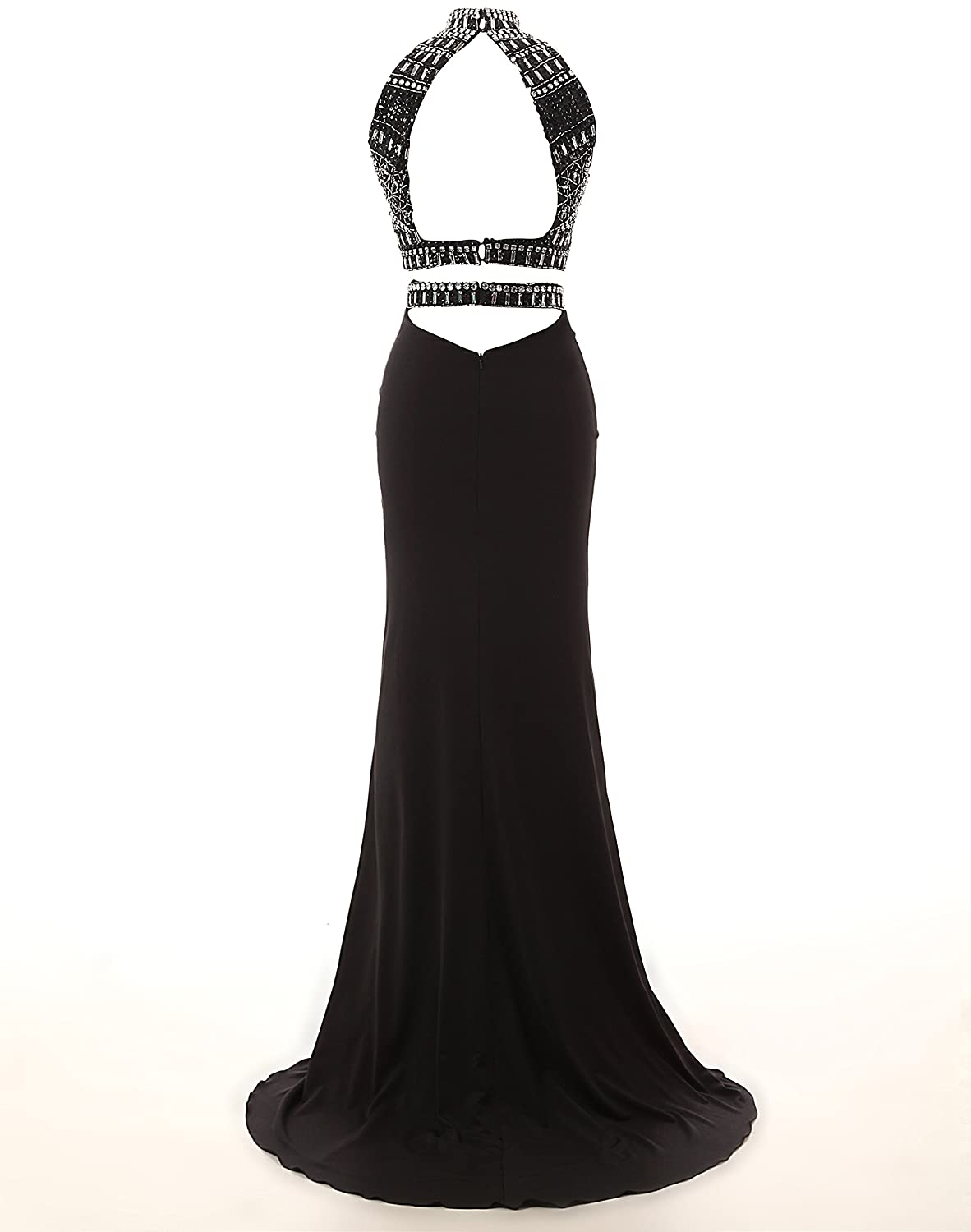 ada352cebe Amazon.com  KISSBRIDAL Women s Black Two Piece Prom Dresses Open Back  Formal Evening Gown  Clothing