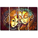Ray DCOR Radha Krishna Painting (Microfiber,92 cm x 61 cm x 0.5 cm, 4-Piece)