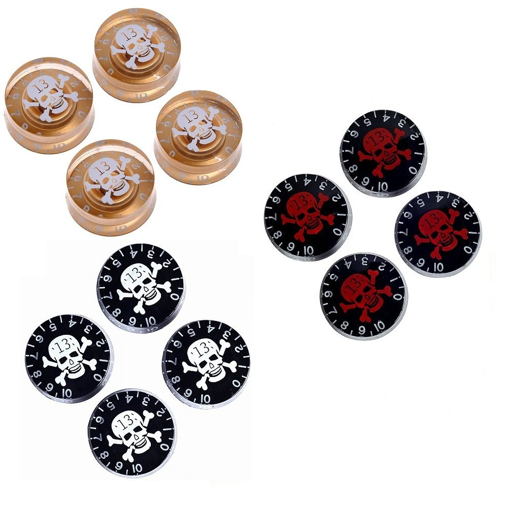 Lanpeed 3 Sets of 4pcs Speed Control Knobs with Skull for Gibson Les Paul Replacement Electric Guitar Parts