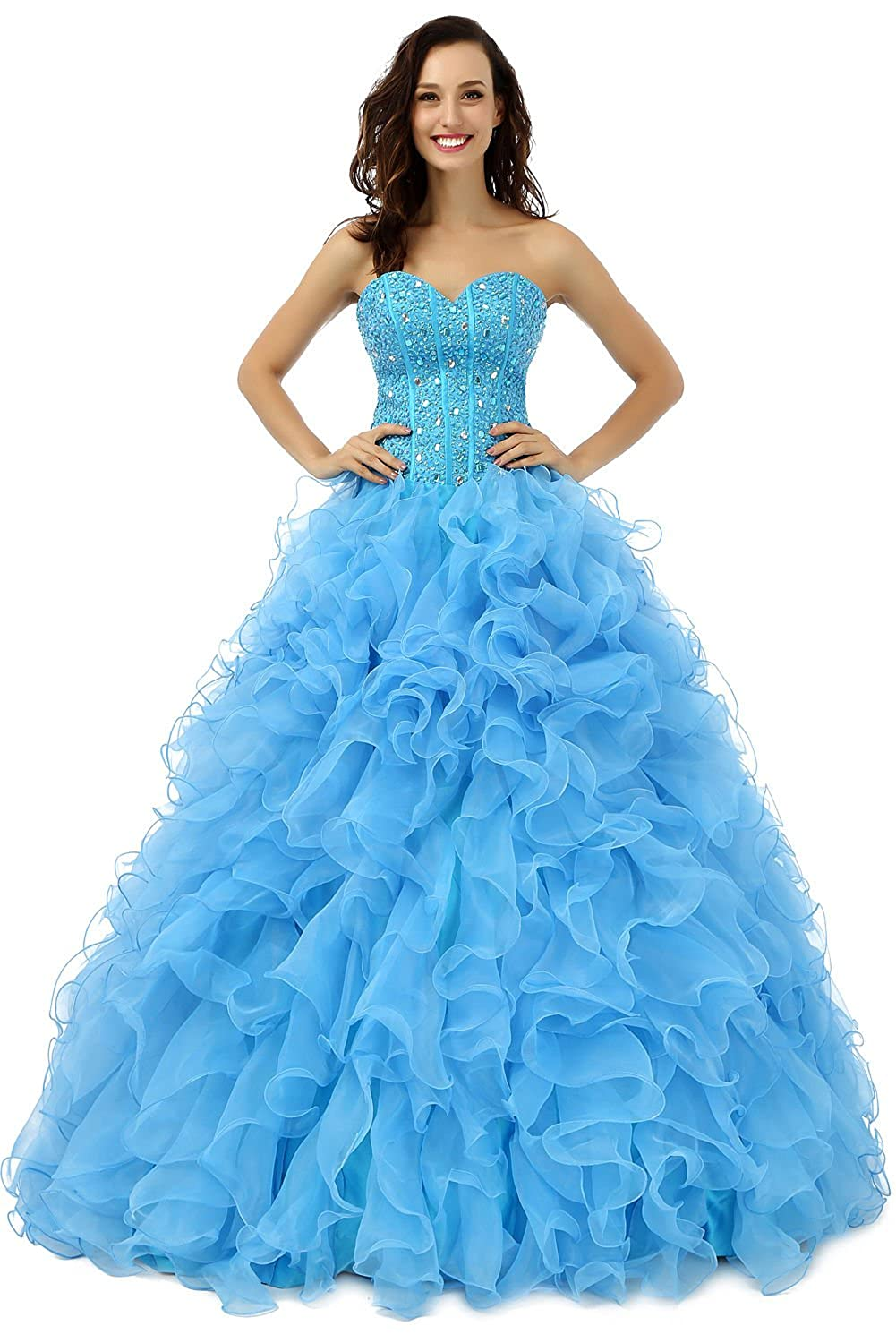 Ikerenwedding Women's Sweetheart Ruffles Beaded Long Organza Ball Gown Quinceanera Dress