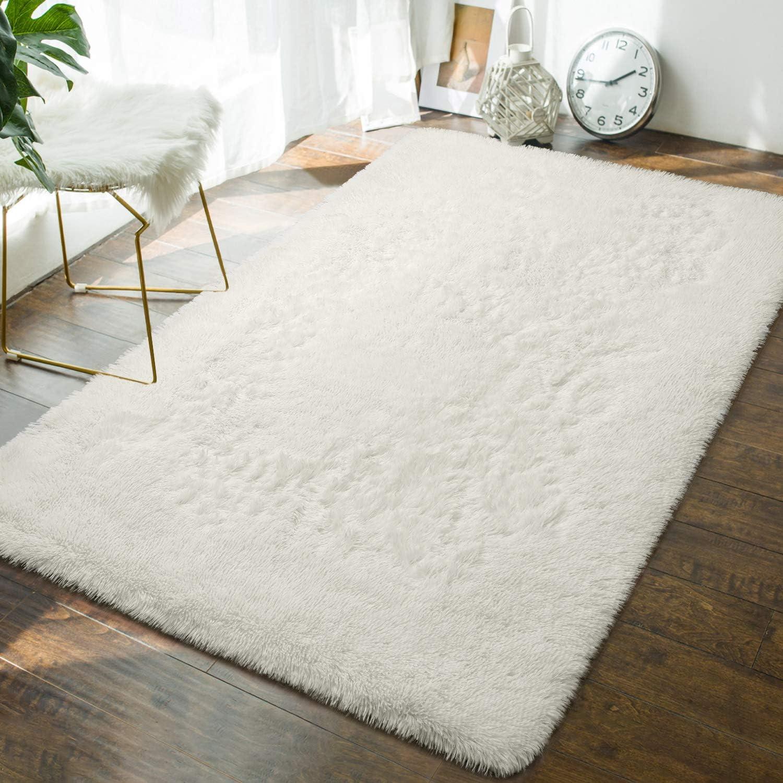 Andecor Soft Fluffy Bedroom Rugs - 4 x 6 Feet Indoor Shaggy Plush Area Rug for Boys Girls Kids Baby College Dorm Living Room Home Decor Floor Carpet, Cream