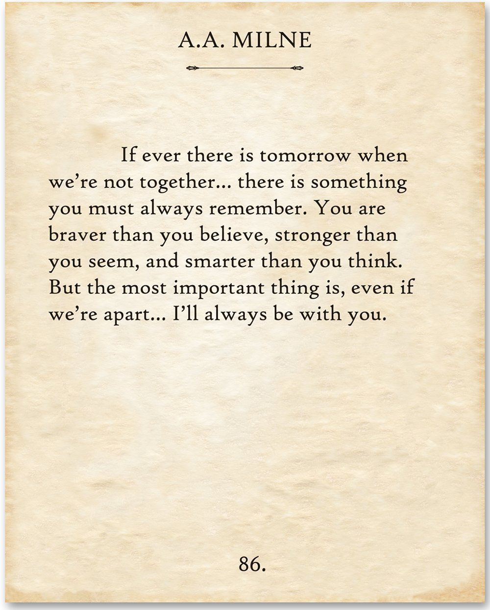 A.A. Milne - If There Ever Is Tomorrow. - 11x14 Unframed Typography Book Page Print - Great Gift for Book Lovers