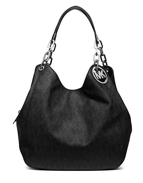 7f1a5b2740 Michael Kors Fulton Large Leather Shoulder Bag Tote ( Black Signature)