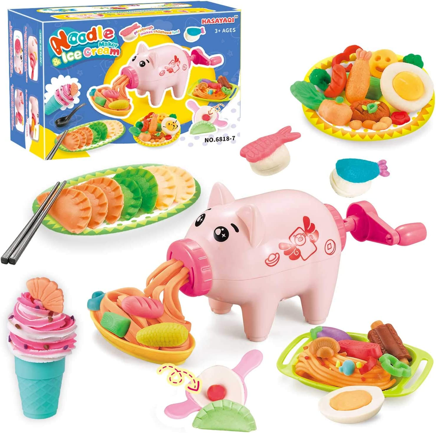 Playdough Kitchen Creations Noodle Party & Ultimate Swirl Ice Cream Maker Play Food Set for Kids 3 Years and Up,Compound is no Contained