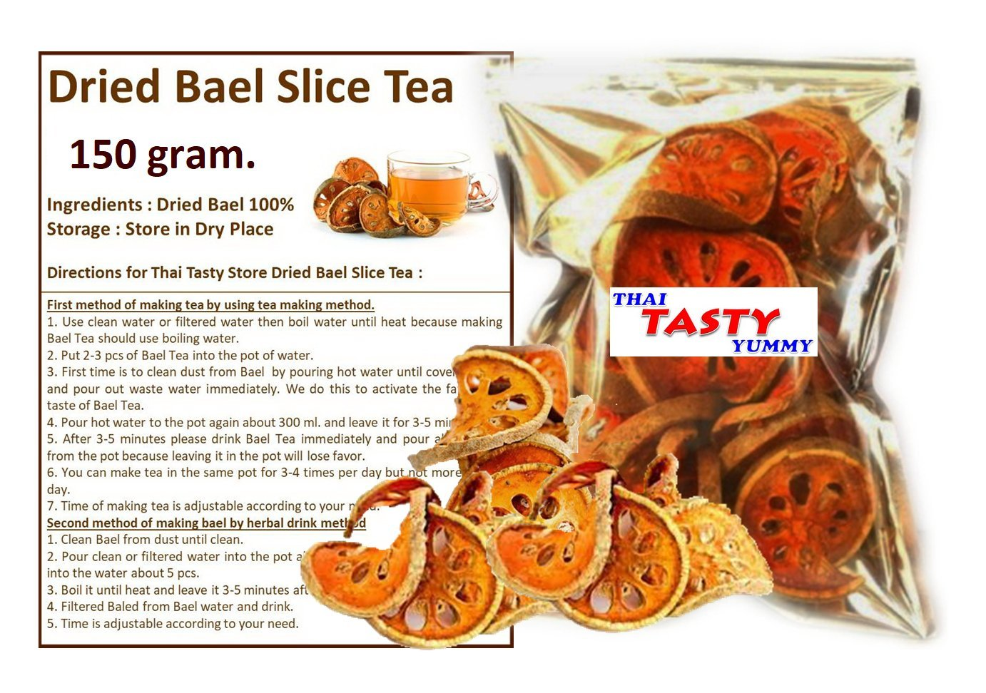 Herb Dried Original Bael Fruit Tea Natural 150 g.
