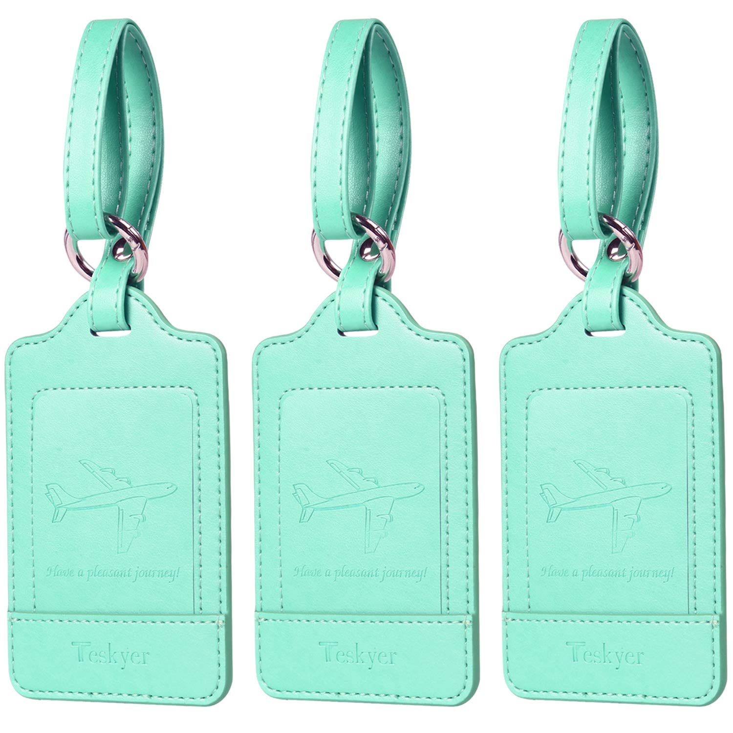 3 Pack Teskyer Premium PU Leahter Luggage Tags Privacy Protection Travel Bag Labels Suitcase Tags-Red Luggage Tags