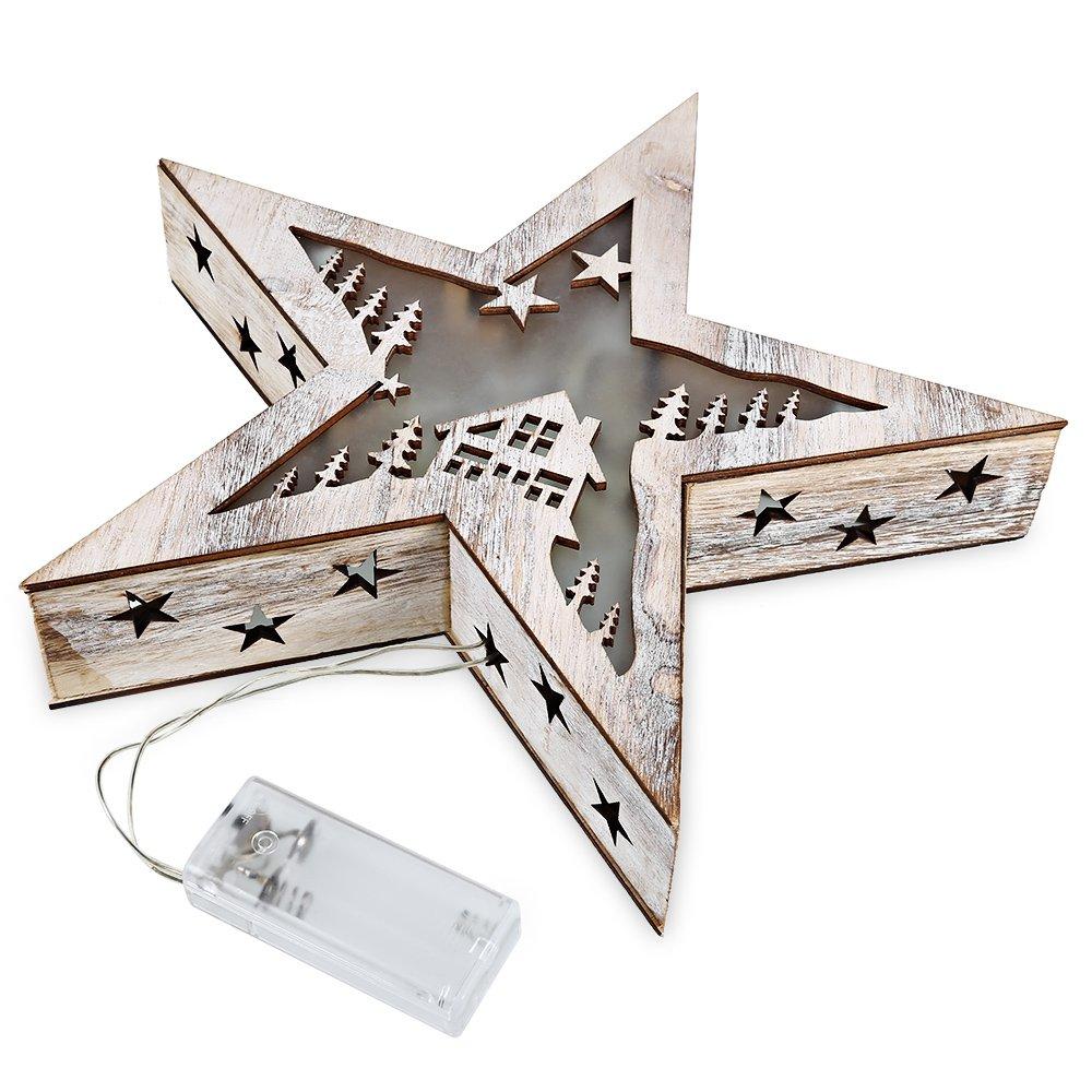 SZYT Wooden large pentagram night light battery warm white light