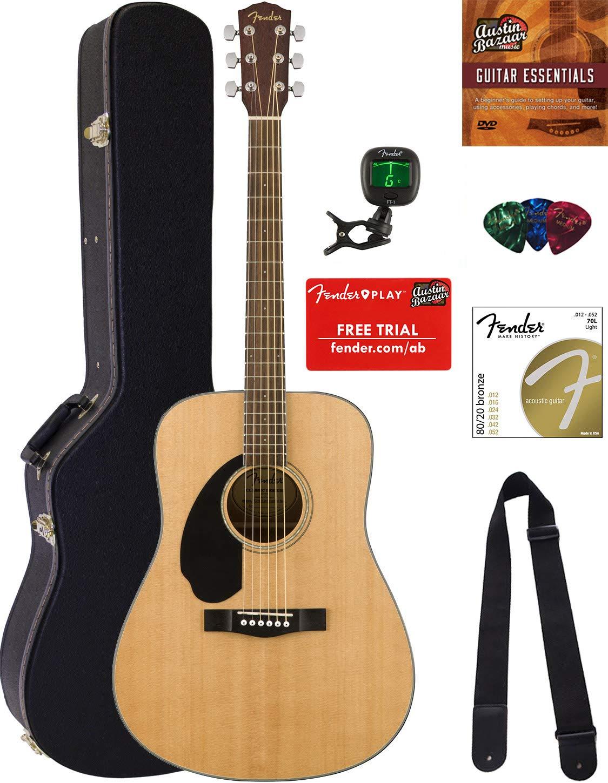 Fender CD-60S Dreadnought Acoustic Guitar - Left Handed, Natural Bundle with Hard Case, Tuner, Strap, Strings, Picks, Austin Bazaar Instructional DVD, and Polishing Cloth